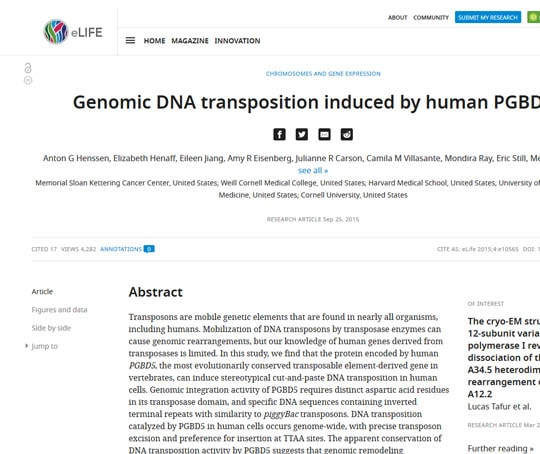 Genomic DNA transposition induced by human PGBD5