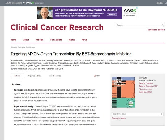 Targeting MYCN-Driven Transcription By BET-Bromodomain Inhibition