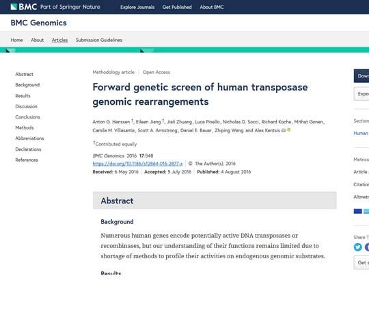 Forward genetic screen of human transposase genomic rearrangements