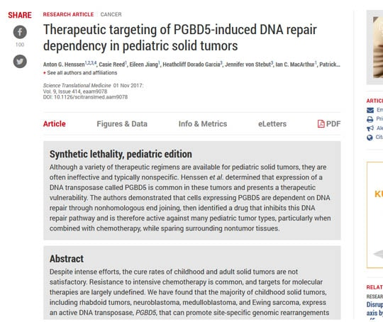 Therapeutic targeting of PGBD5-induced DNA repair dependency in pediatric solid tumors