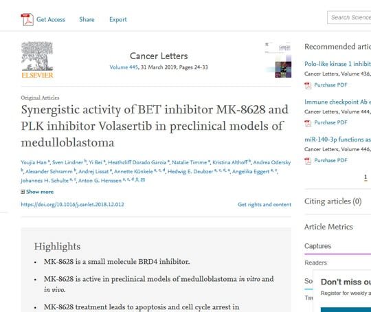 Synergistic activity of BET inhibitor MK-8628 and PLK inhibitor Volasertib in preclinical models of medulloblastoma